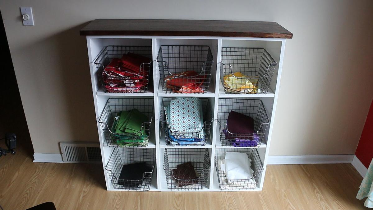 Sewing fabric shelves