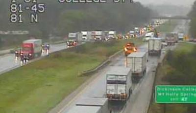 Crash on I-81 north near Carlisle causing traffic delays in