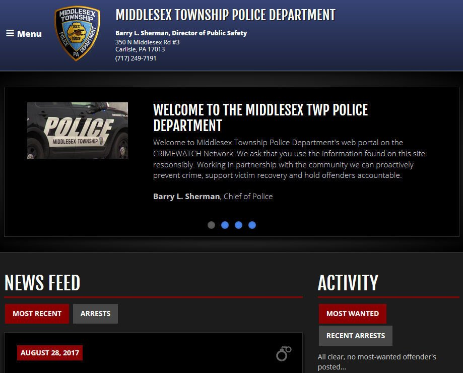 Middesex Township police site - web only