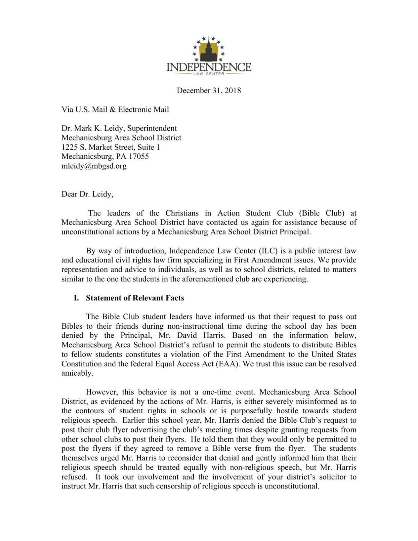 Independence Law Center letter