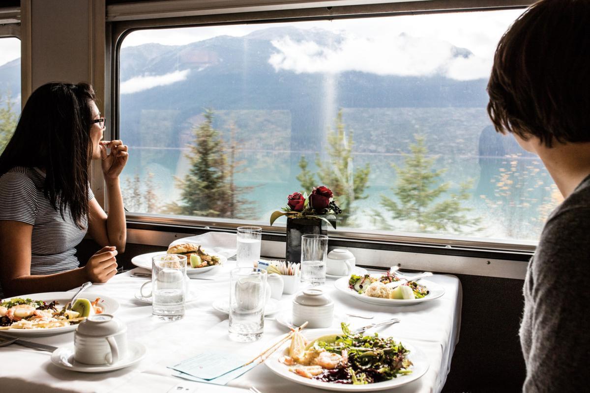 Dining car on Via Rail's Canadian train.
