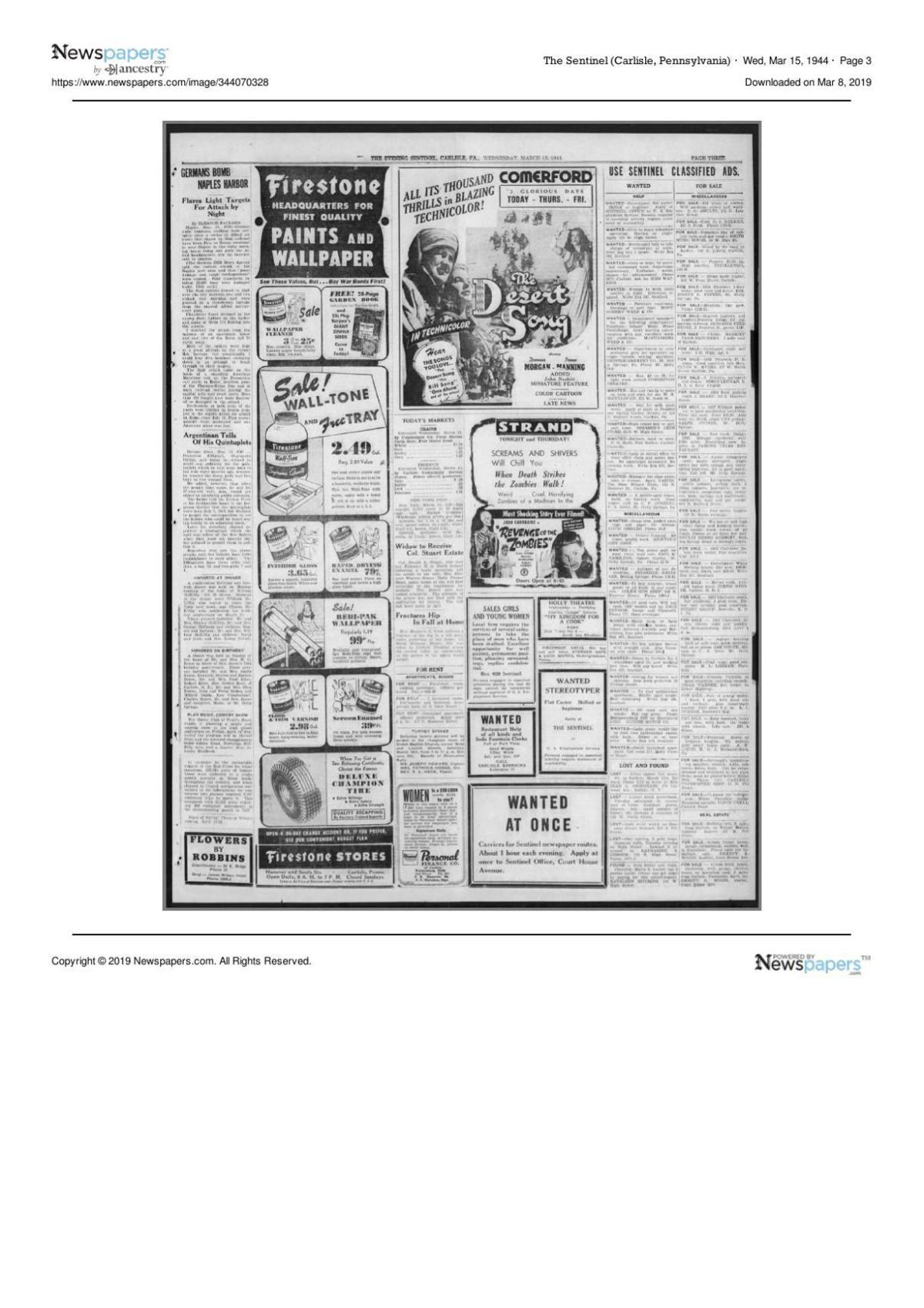 The Sentinel from March 15, 1944 page three