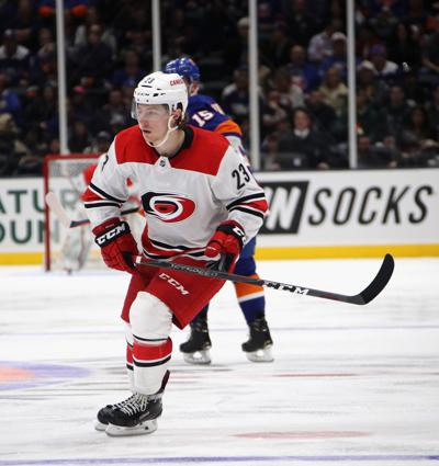 The Carolina Hurricanes' Brock McGinn skates in his 200th NHL game against the New York Islanders at NYCB Live at the Nassau Veterans Memorial Coliseum in Uniondale, N.Y., on January 8, 2019. **FOR USE WITH THIS STORY ONLY**
