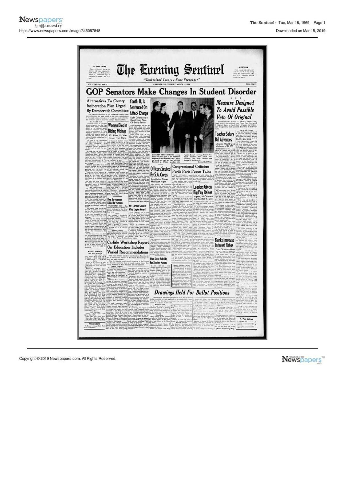 The Sentinel for March 18, 1969 page one | | cumberlink com