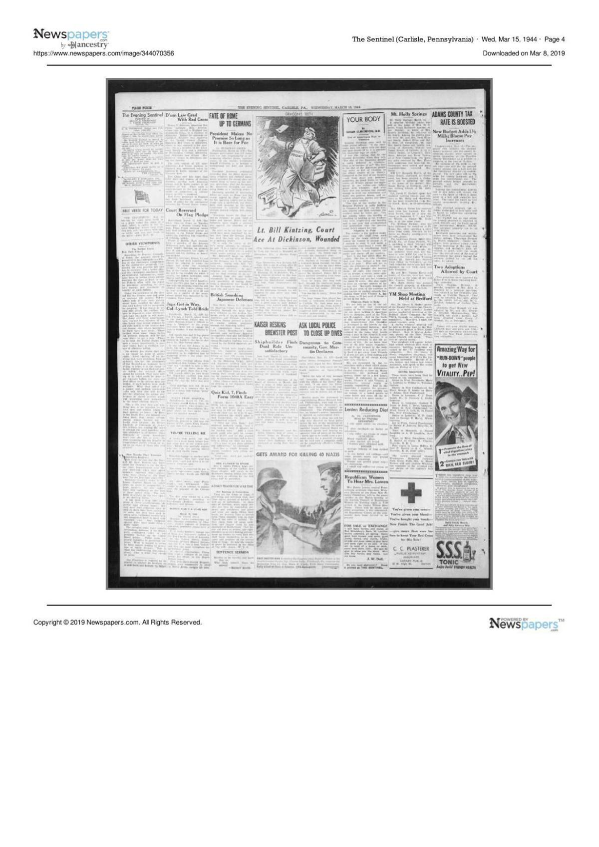 The Sentinel from March 15, 1944 page four