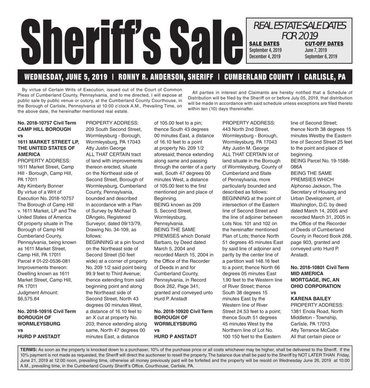 Real Estate Sheriff's Sale Notice