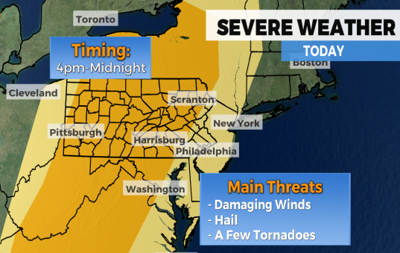 Strong to severe thunderstorms to hit region Monday evening