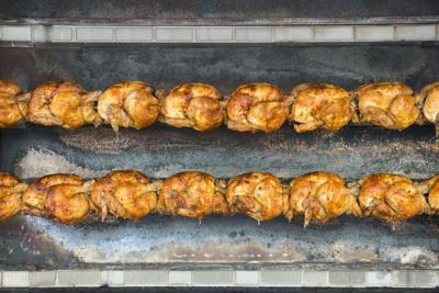 Roisserie chicken cooking