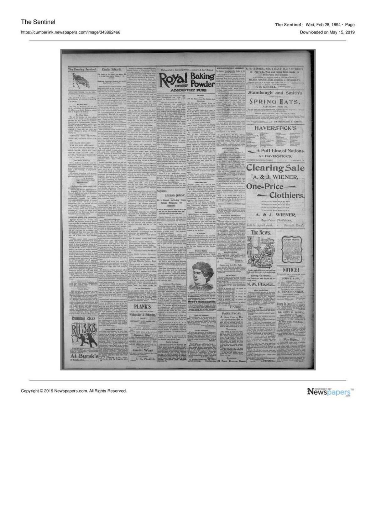 Feb. 28, 1894 Sentinel