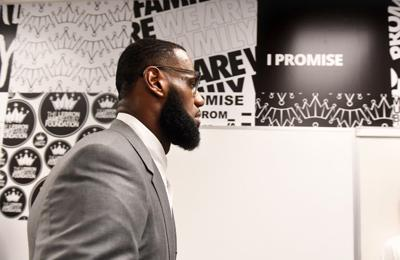 AKRON, OHIO JULY 29 TH 2018- LeBron James prepares for a press conference in a classroom at the I PROMISE School in Akron, Ohio.