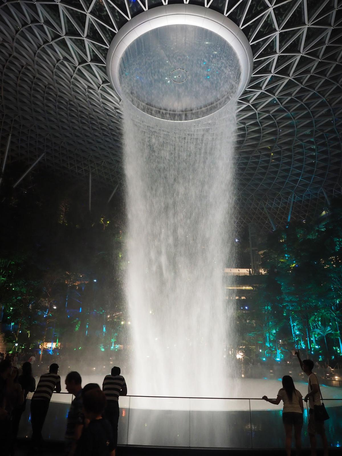 At Singapore's Changi Airport the HSBC Rain Vortex recirculates 135,000 gallons of reclaimed rainwater.