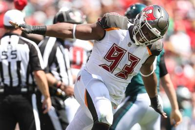 Tampa Bay Buccaneers defensive tackle Gerald McCoy (93) celebrates after sacking Philadelphia Eagles quarterback Nick Foles  during the third quarter of the Tampa Bay Buccaneers game against the Philadelphia Eagles on September 16, 2018 at Raymond James Stadium in Tampa, Fla. MONICA HERNDON       Times