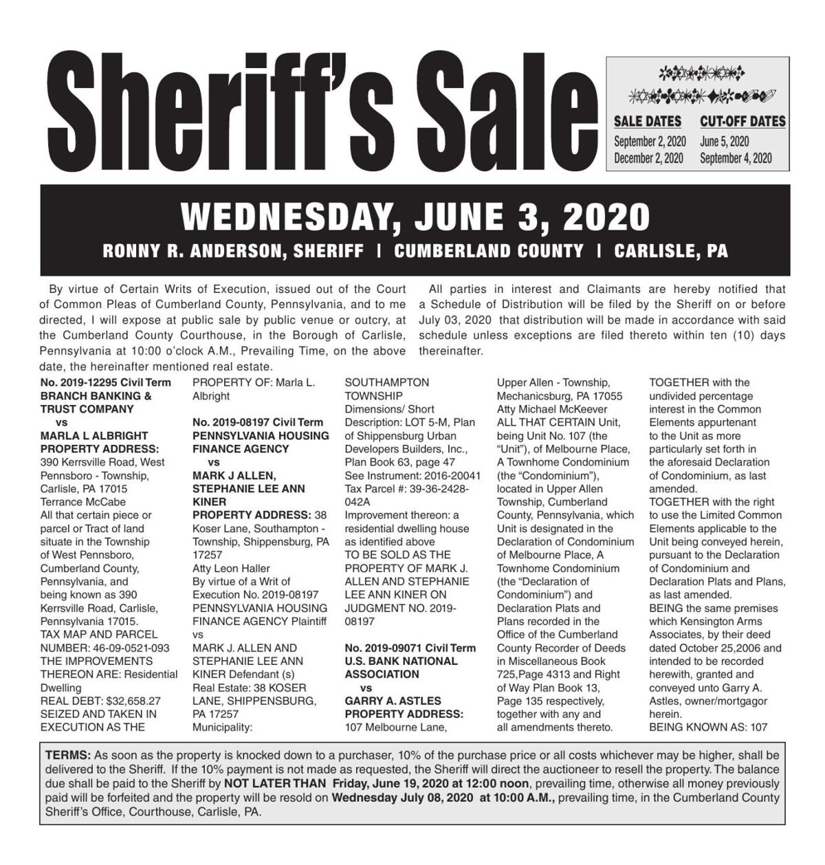 Real Estate Sheriff Sale Notice