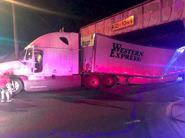 Tractor-trailer stuck