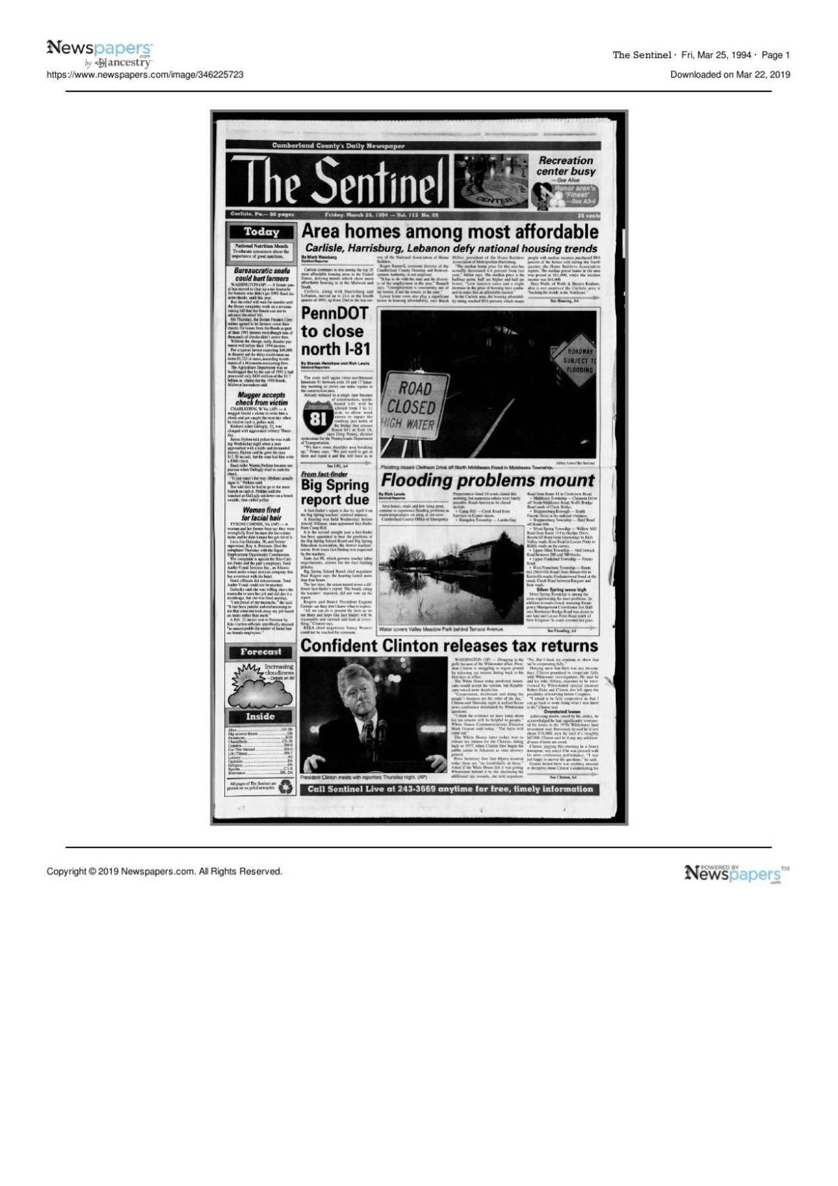 The Sentinel from March 25, 1994 page one