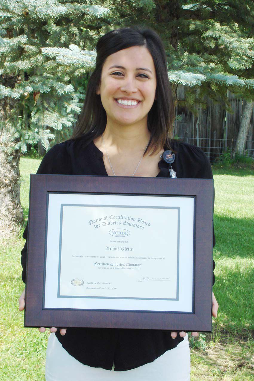 Kilani Klette Receives Recognition As Certified Diabetes Educator At