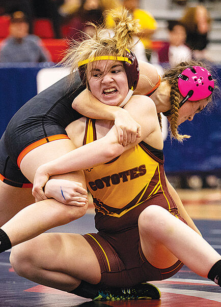 Berlin Larson makes history competing at first ever state girls wrestling tourney