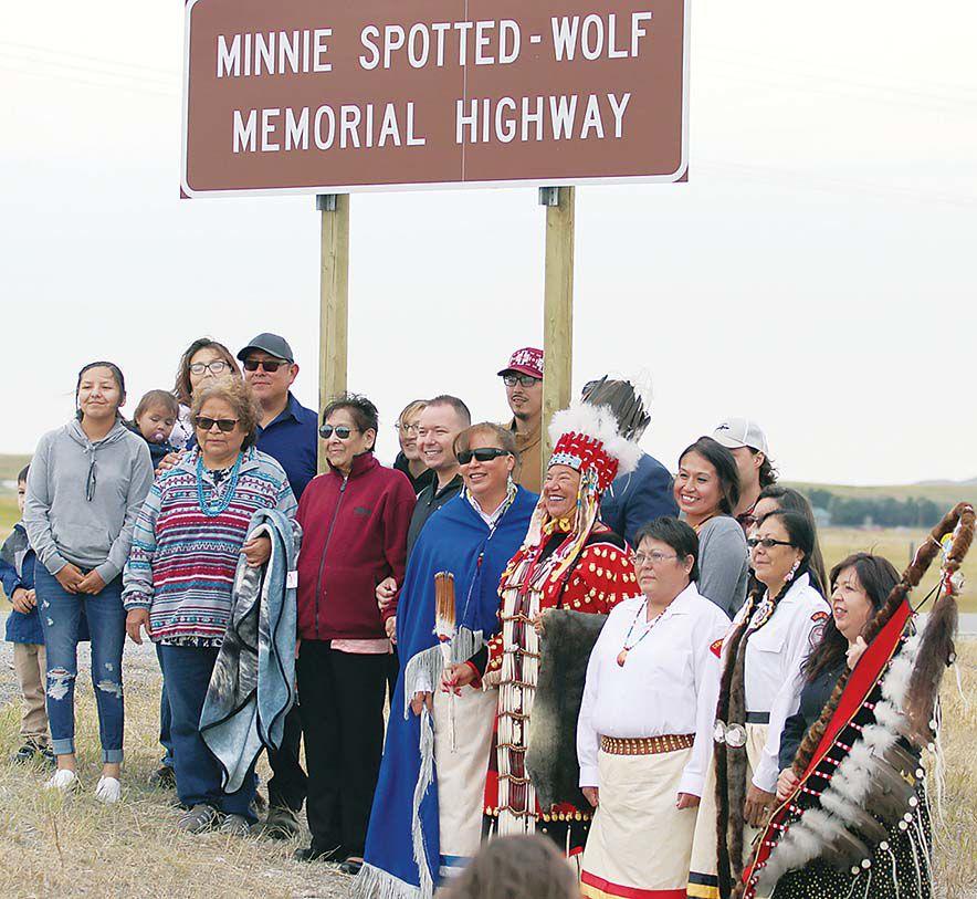 Minnie Spotted Wolf Memorial Highway dedicated on U.S. 89
