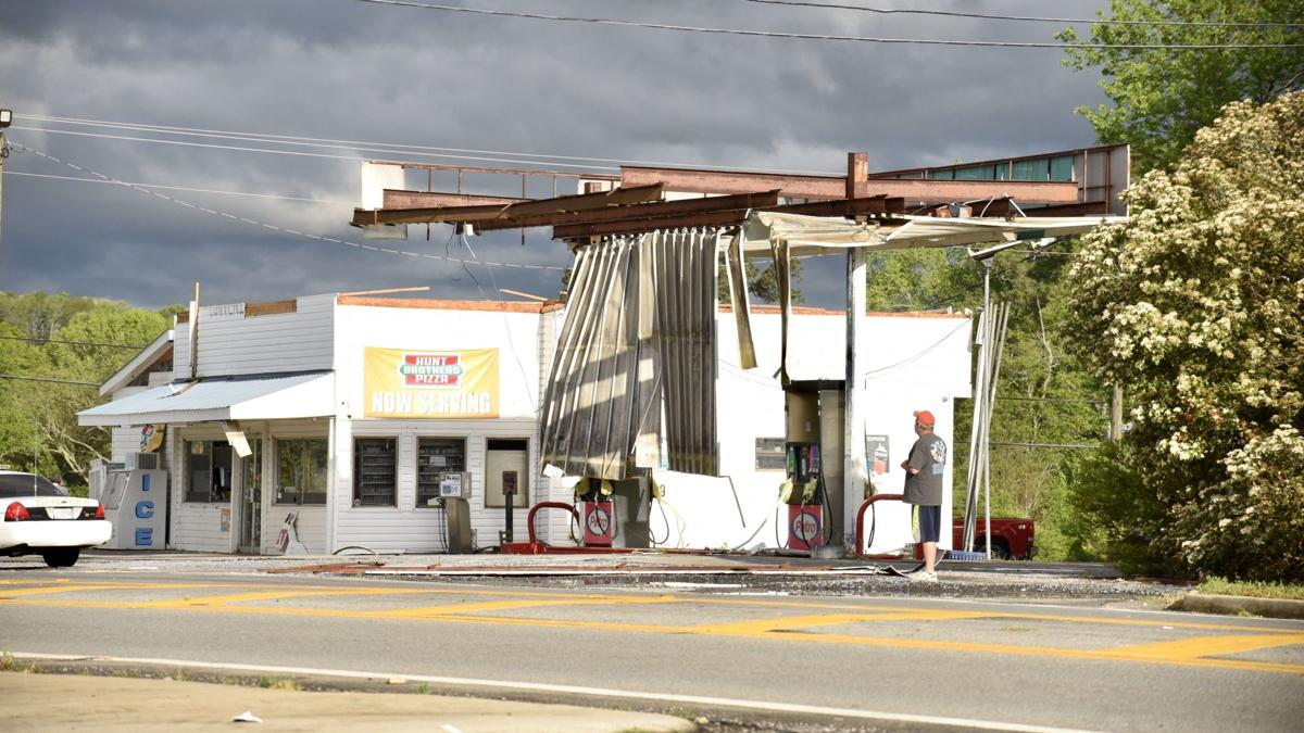 Gas station damage at the intersection of Highways 225 and 286 in Murray