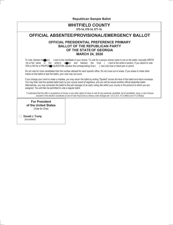 Presidential Preference Primary Republican Party Ballot Dailycitizen News