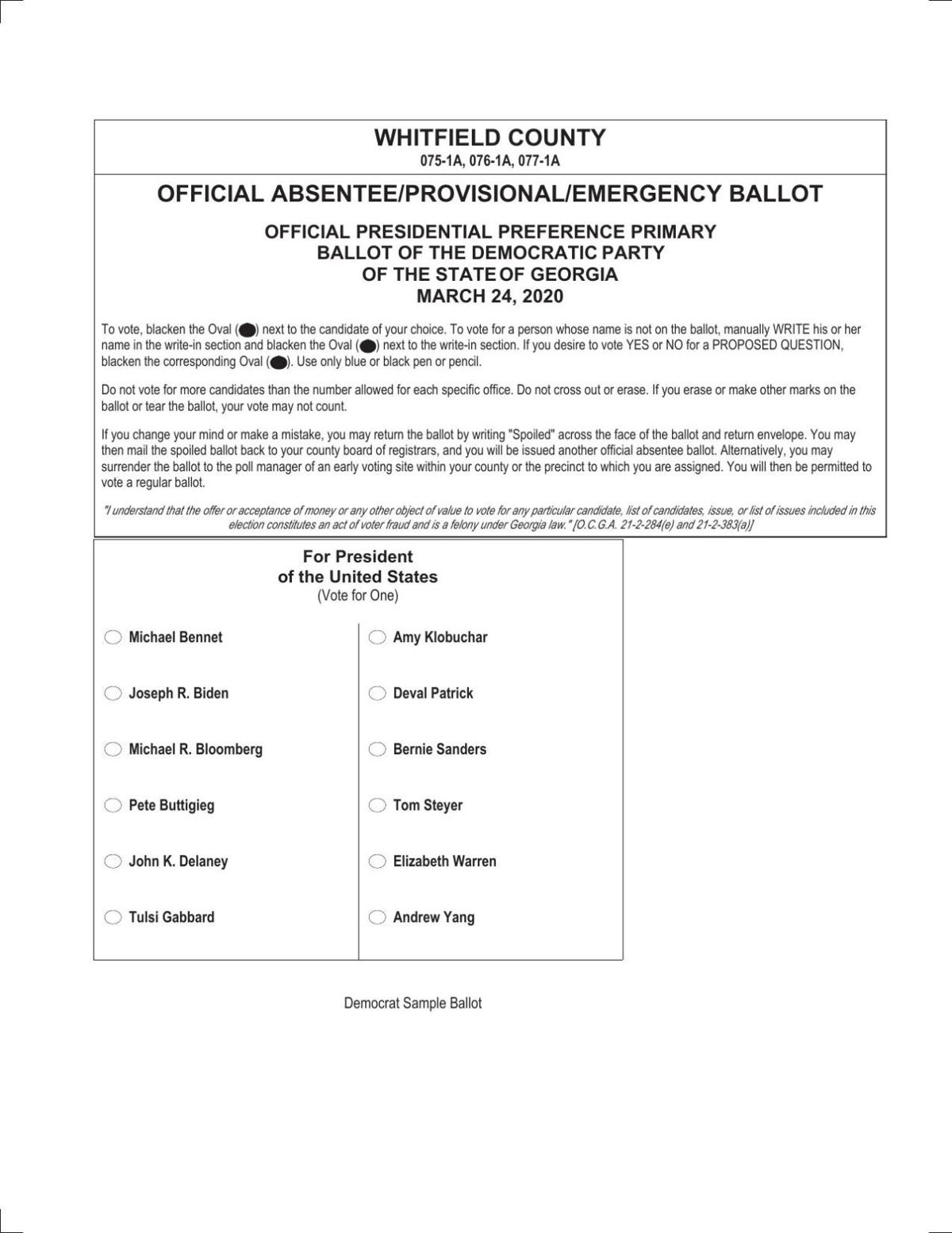 Presidential Preference Primary Democratic Party Ballot Dailycitizen News
