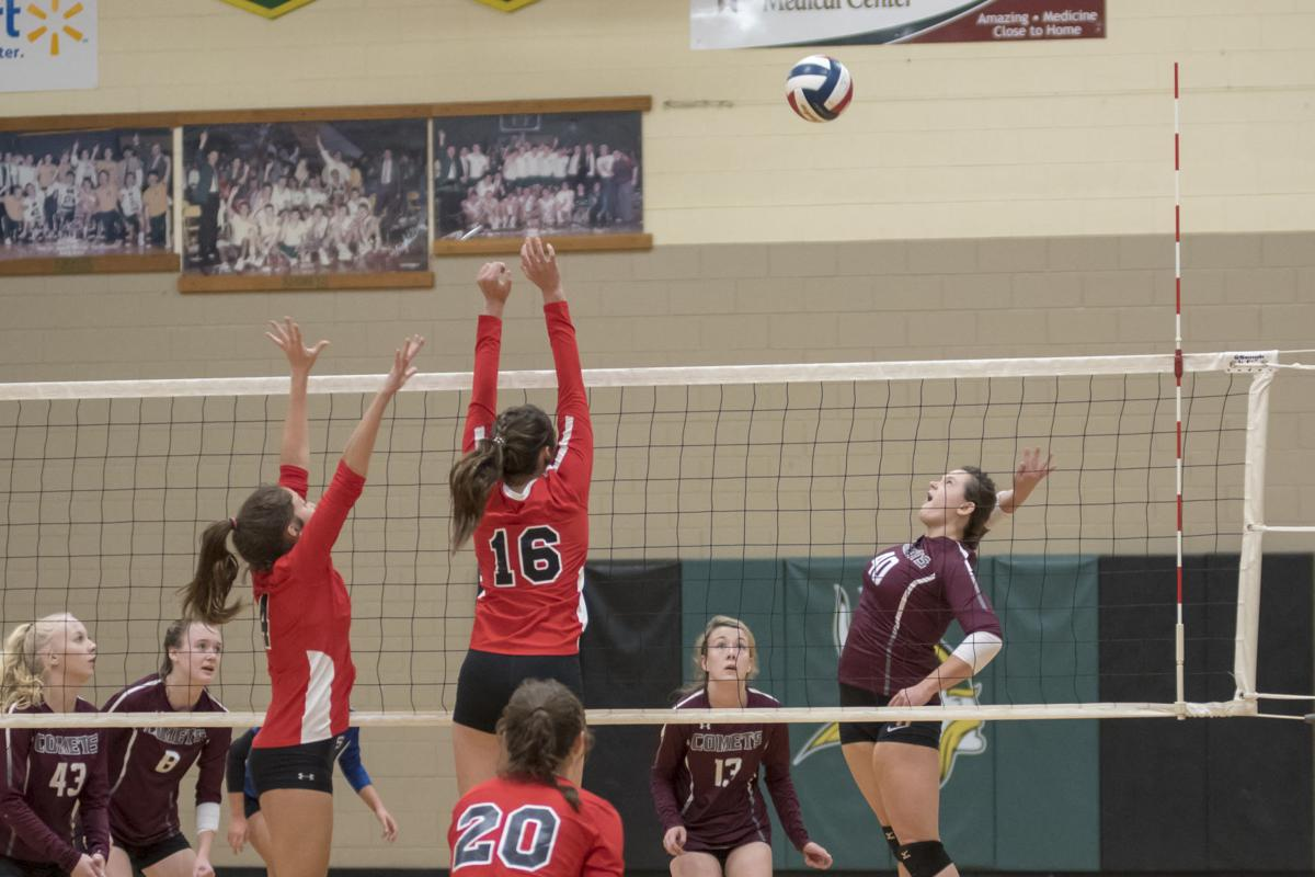 Katie Burton sets up the attack for West.JPG