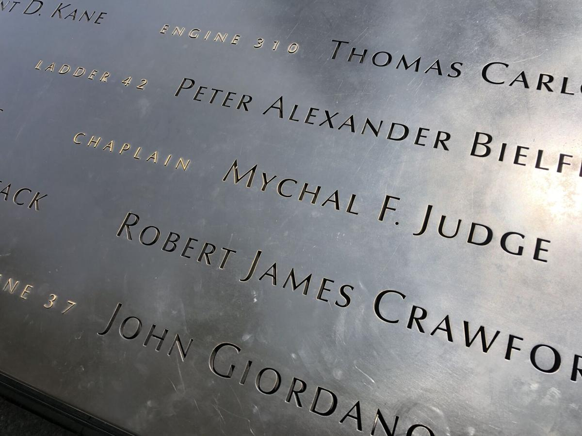 FDNY Chaplain Father Mychal Judge engraving on the Memorial Fountains.JPG