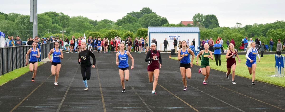 Lillian Sebastian (Ashland middle), K Perry (Morgan middle), K Applegate (Mason middle), K Pease (Fleming), S Chaffins (Greenup), X Holmes (Ashland right), H Carter (Morgan right), K Gulley (Mason left) & C Hiatt (Mason 2nd left) 100m Area 7 gtf.JPG