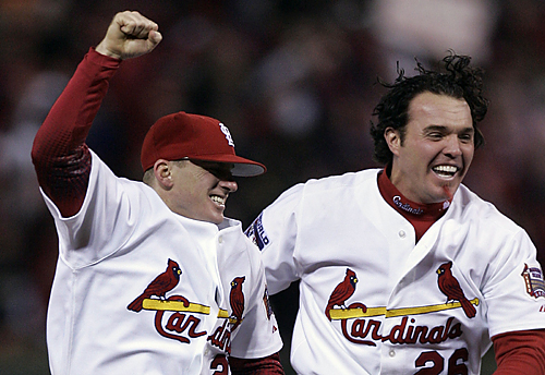 And MVP David Eckstein Celebrate After Winning The 2006 World Series Defeating Detroit Tigers 4 2 In Game 5 Of On Friday