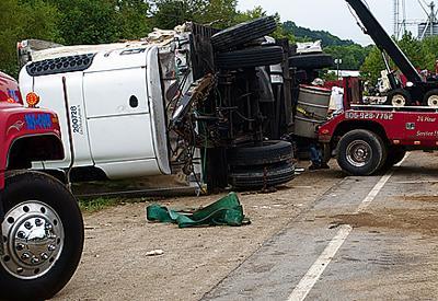 Garbage, food trucks collide on 60