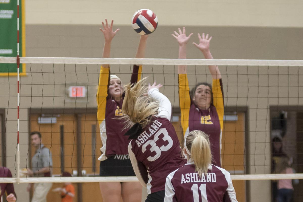 Sophie Suman fires a shot as Rachel Saunders goes for the block.JPG