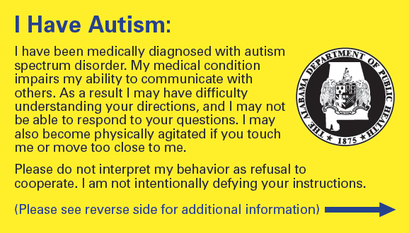 Autism ID Cards for Alabamians