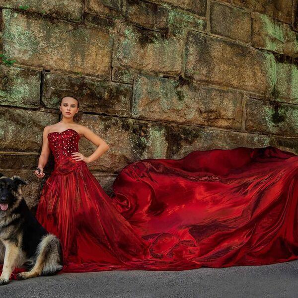 Midd-West student models for magazine in designer dress