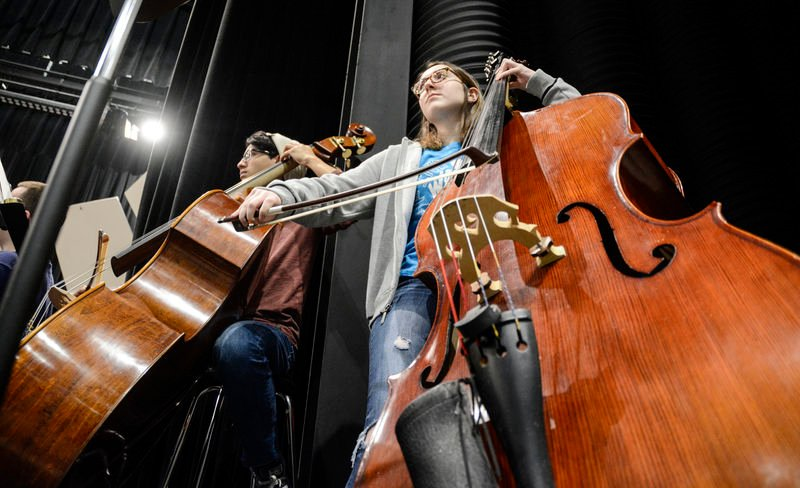 Student musicians rehearse for band festival