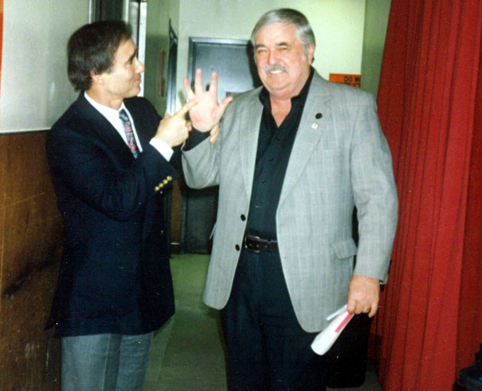 Anthony Carr and James Doohan backstage in Las Vegas in 1993.