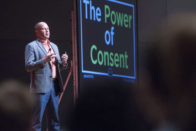 Speaker challenges audience on consent