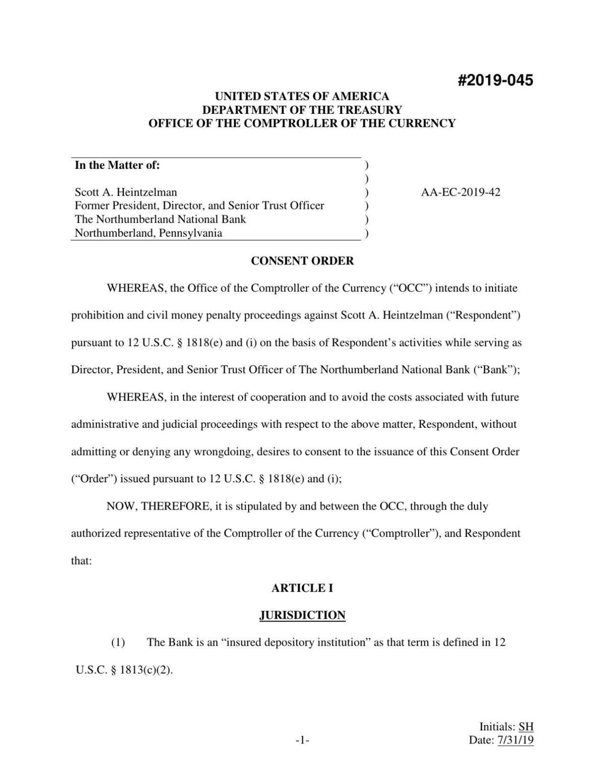Consent order in Scott Heintzelman case
