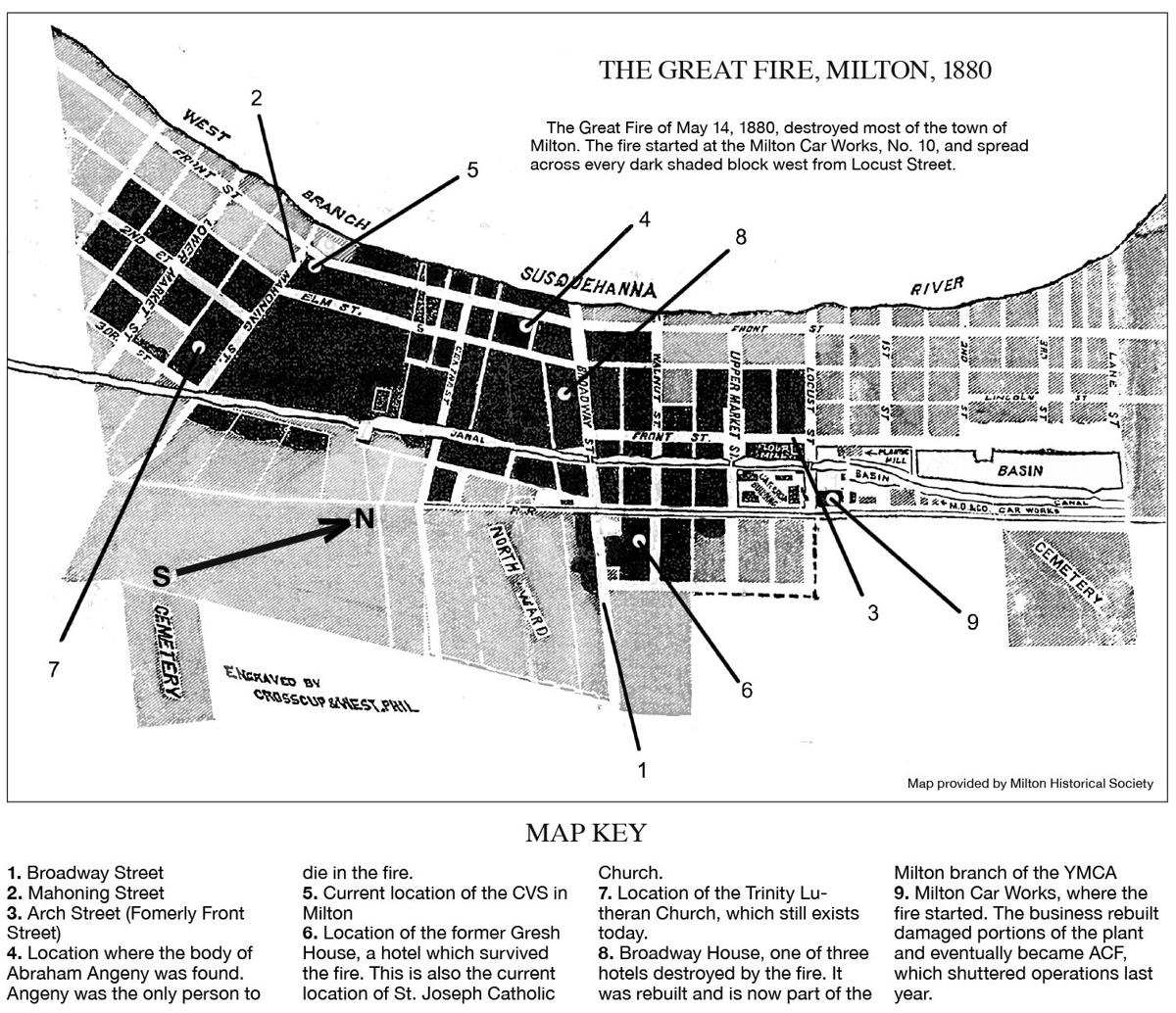 Milton Great Fire of 1880 Map