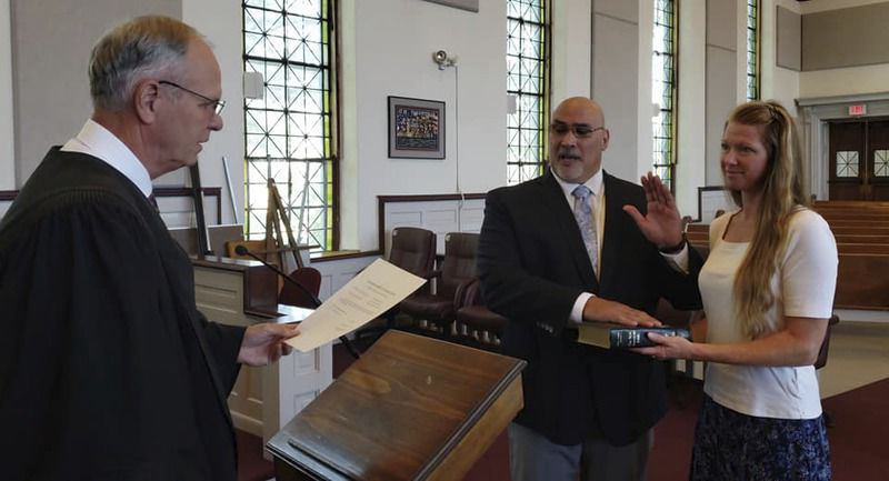 Judge swears in police chief, officer for Shikellamy School District