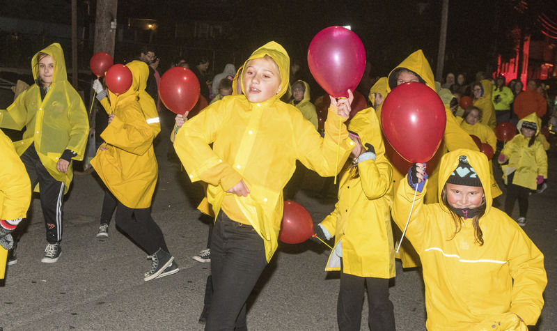 Whipping winds challenge Sunbury Halloween Parade participants, watchers