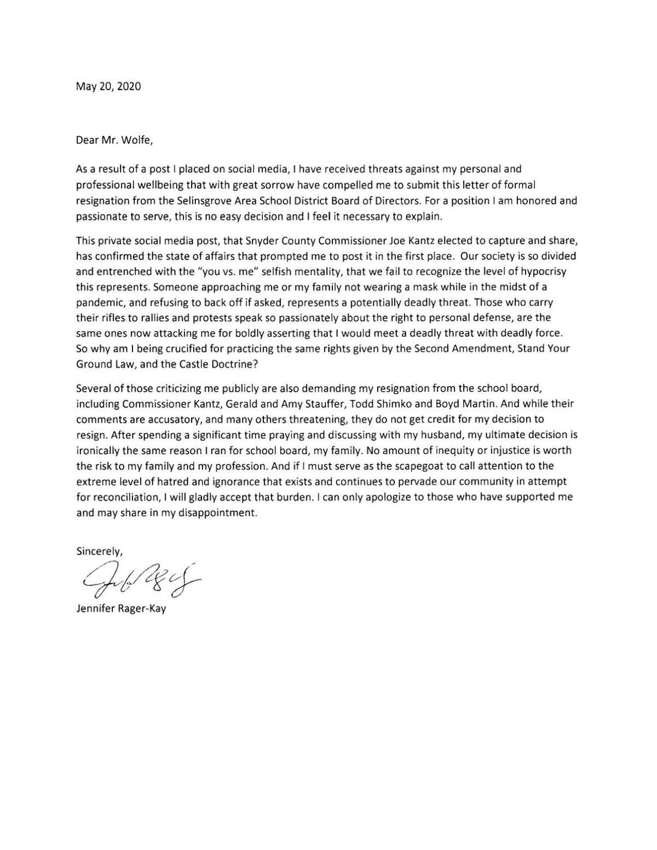 Jennifer Rager-Kay resignation letter