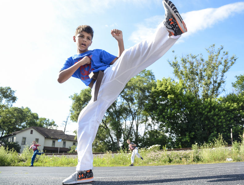 Tae Kwon Do students hone skills outdoors