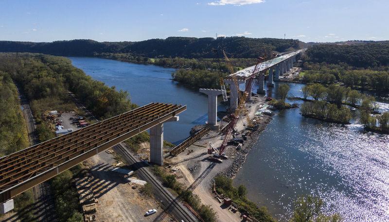 Central Susquehanna Valley Thruway River Bridge piers complete; work to continue through winter