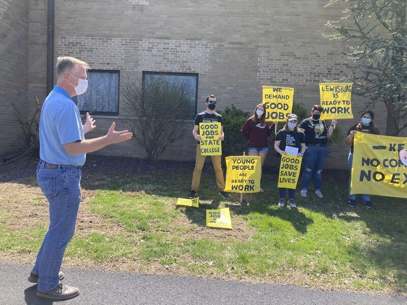Lewisburg residents rally outside Keller's office seeking support to combat climate change - Sunbury Daily Item