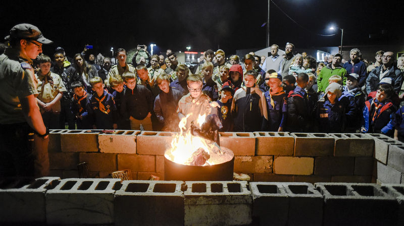 Boy Scouts observe Veterans Day with flag retirement