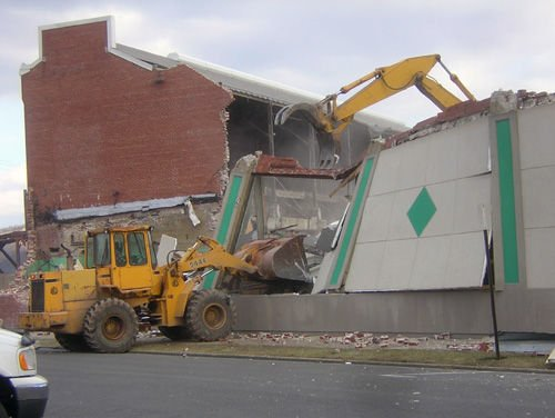 demolition in full swing at the former knight