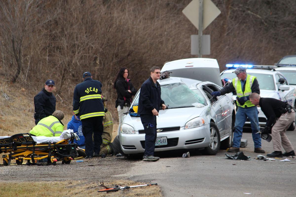 Three injured in crash after pursuit