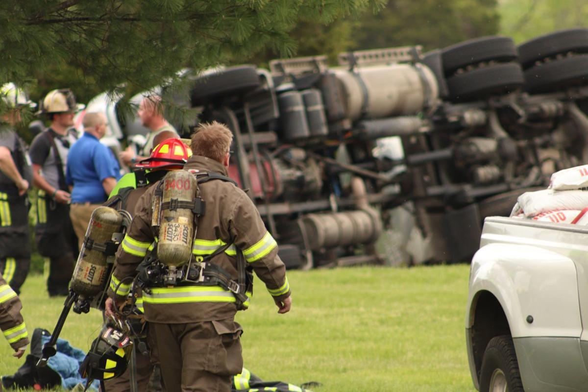 Tanker truck overturns and spills fuel Monday