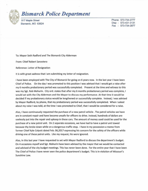 Resignation Letter After Five Months
