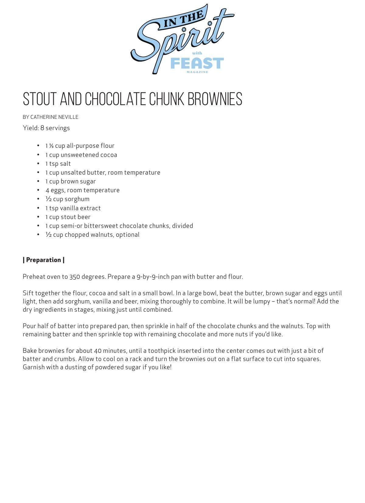 Download the Stout and Chocolate Chunk Brownies Recipe Here